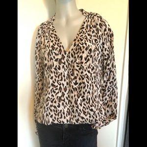 WHBM leopard print, long-sleeve blouse